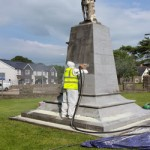 war memorial restoration- soda blast cleaning llangenfi